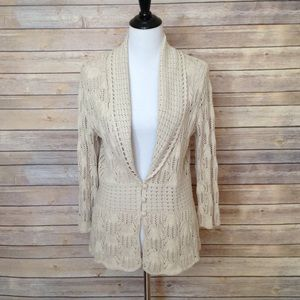 JM Collection open weave oatmeal cardigan